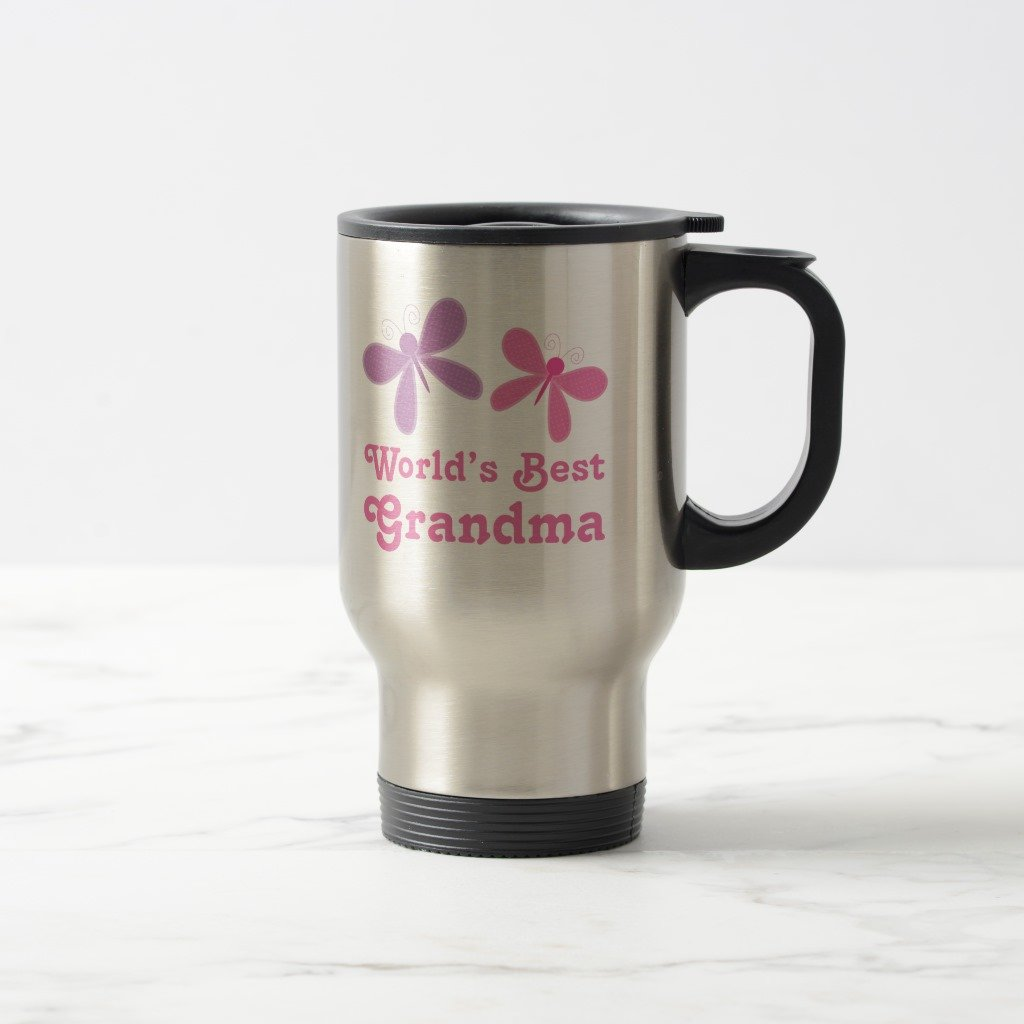 Zazzle Dragonfly World's Best Grandma Gift Two-tone Coffee Mug, Stainless Steel Travel/Commuter Mug 15 oz