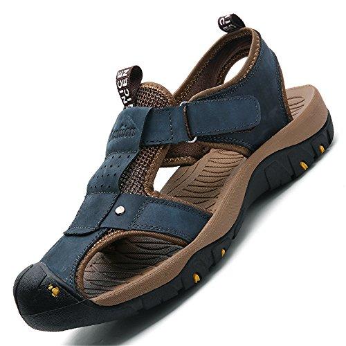 vera 40 passeggiate chiusa a 2018 morbido all'aperto Mens Sandalo in Color in punta le antiscivolo sportivo Blu Dimensione pelle EU scarpe per chiuso spiaggia da morbido shoes uomo FaHw0F