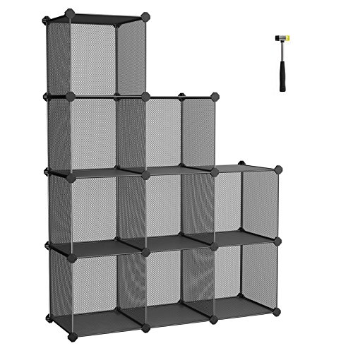Drawer Modular Storage Cabinet (SONGMICS Storage Cubes, High-density Metal Grid, Interlocking Shelving Organizer Unit with High Load Capacity for Closet, DIY Cabinet and Bookcase with Rubber Mallet, Black ULPL115H)