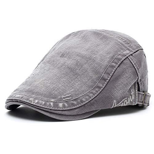 M MOACC Men Beret Hat Cotton Adjustable Newsboy Hats Cabbie Gatsby Cap,Grey (Summer Drivers Caps)