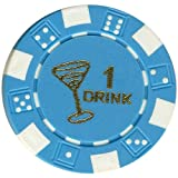 100 FREE DRINK LIGHT BLUE POKER CHIPS TOKENS FOR RESTAURANTS OR BAR - MARTINI GLASS