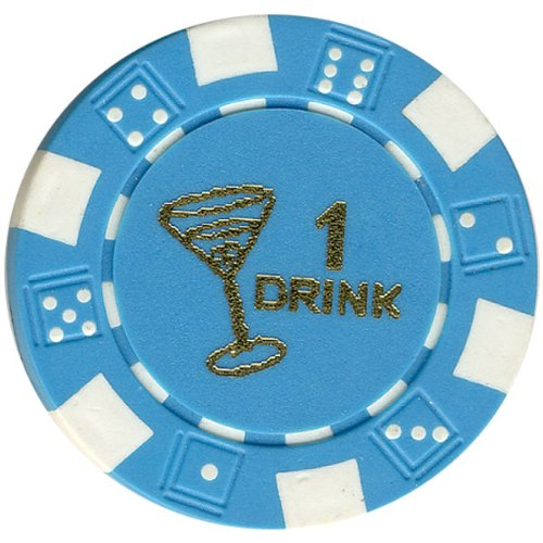 100 FREE DRINK LIGHT BLUE POKER CHIPS TOKENS FOR RESTAURANTS OR BAR - MARTINI GLASS Drink Token