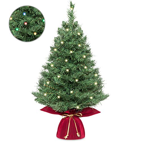 Best Choice Products 26in Multifunctional Cordless Pre-Lit Tabletop Artificial Fir Christmas Tree w/ 35 Warm White and Multicolor LED Lights, 5 Light Functions, Timer, Battery Box, Green