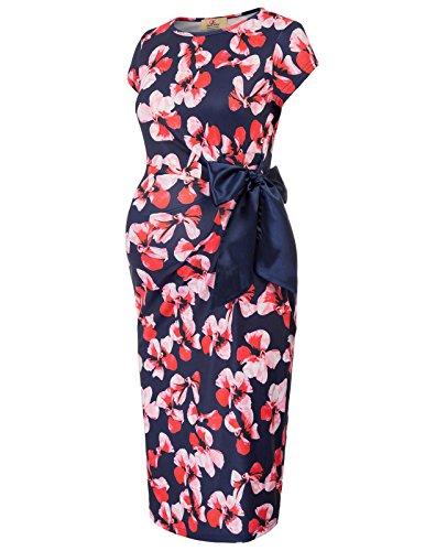 (GRACE KARIN Women's Print Side Bow Tie Cap Sleeve Maternity Bodycon Pencil Dress)