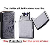 USB Lighter 2 Pack - Dual Arc Electronic Lighter - Electric Plasma Lighter - Tesla Coil Rechargeable Cigarette - Windproof Flameless Butane Free Airport Safe - Perfect Gift FIRELUXOR (Black, Silver)