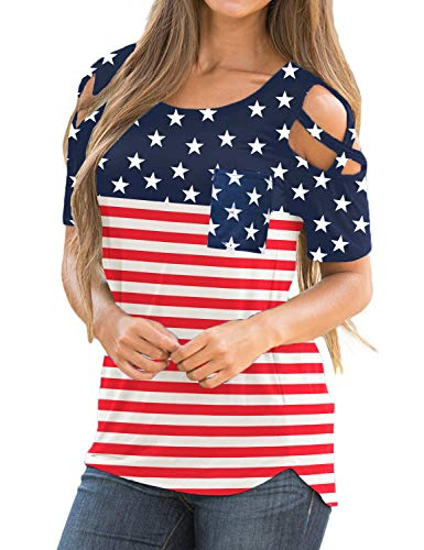 LookbookStore Women's American Flag Multicolor Casual Crisscross Cold Shoulder Short Sleeve Basic T-Shirt Blouse Tops Size Medium (US 8-10)