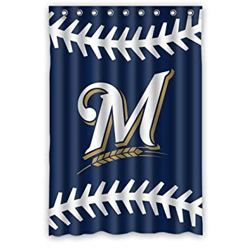 Custom MLB Milwaukee Brewers Waterproof Polyester Shower Curtain 48x72 By Nature