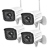 Outdoor Security Camera (4 Pack), 1080p IP Cam 2.4G IP66 Waterproof Night Vision Surveillance System with Two-Way Audio, Motion Detection, Activity Alert, Deterrent Alarm - iOS, Android App