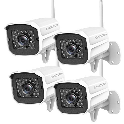 Outdoor Security Camera (4 Pack), 1080p IP Cam 2.4G IP66 Waterproof Night Vision Surveillance System with Two-Way Audio, Motion Detection, Activity Alert, Deterrent Alarm - iOS, Android ()