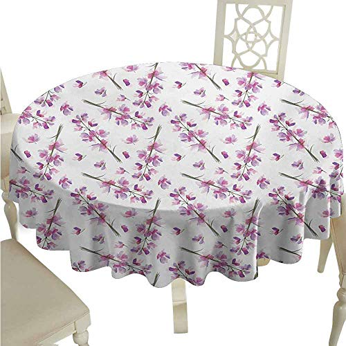 duommhome Purple Spill-Proof Tablecloth Hazy Delphinium Floret Branches with Blooming Roots Seasonal Twigs Nature Pattern Easy Care D47 Violet Green