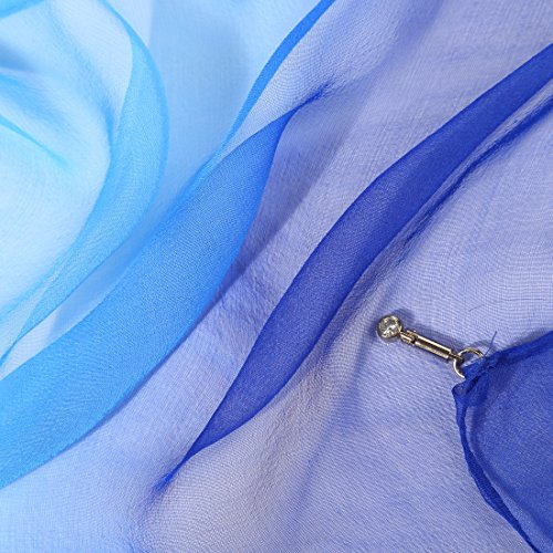 ZORJAR Solid Color 100% Pure Silk Thin Long ScarfVarious Colors Available (Gradient Royal Blue)