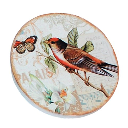 Birds And Butterfly, American Scald-proof Cup Tray Round Coffee Cup Mat , 4 PCS