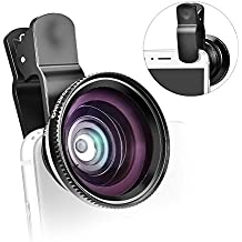 aceyoon Phone Camera Lens Clip On 2 In 1 Universal HD Scene 12X Macro Lens 0.7X Wide Angle Professional Cell Phone Shot Camera Lens Kit for iPhone 7 / 7Plus / 6s / 6s Plus, Samsung, HTC