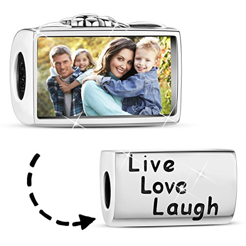 TINYSAND 925 Sterling Silver Live Love Laugh Personalized Customize Photo Picture ID Tag Charms Beads Fit European Bracelet Anklet Keepsake Memorial - Sterling Mall Heights In