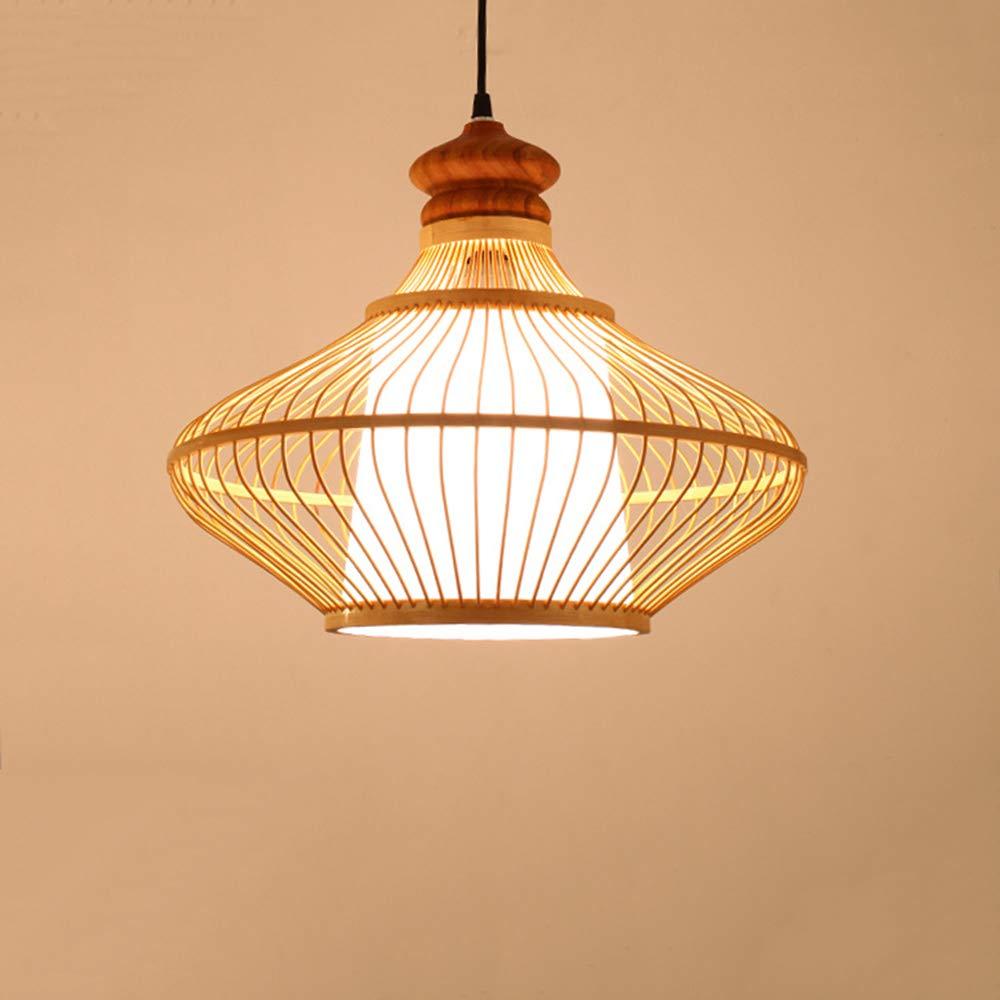 MTTK Handgefertigter Bambusleuchter, DIY Bambuskunst-Anhängerlicht, Wohnzimmer-Restaurantschaufelampe,S