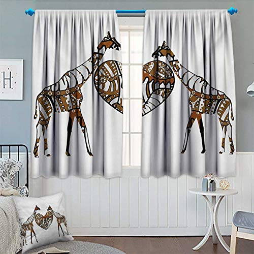 Anhounine African,Blackout Curtain,Soul Mate Giraffes with A Giant Heart Valentines Love in Nature Bohemian Print,Patterned Drape for Glass Door,Brown White,W72 x L84 (Soul Mate Glass Block)