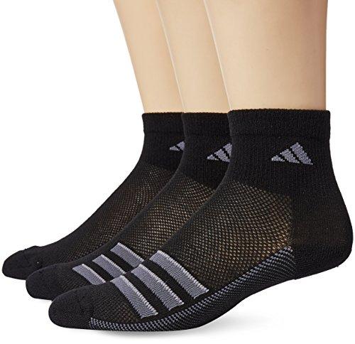 Climacool No Show Sock - adidas Socks Men's Climacool Superlite Stripe 3 Pack Quarter Socks, Black/Onix/Light Onix, Size 6-12