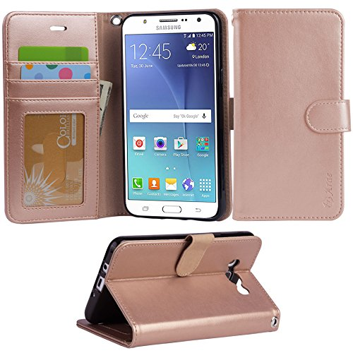 Cheap Wallet Cases ARAE Galaxy J7 wallet Case with Kickstand and Flip cover, Rosegold