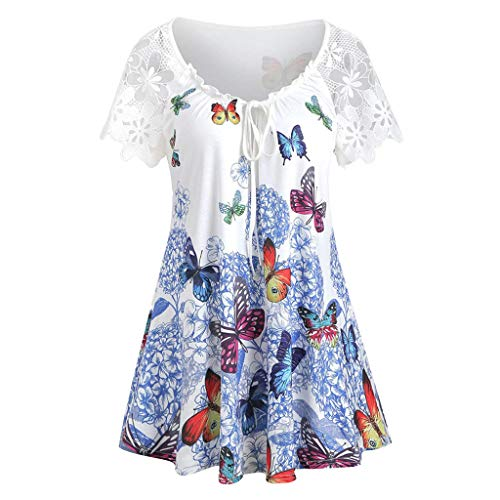 I613 Women's Plus Size Tops Vintage Short Sleeve V Neck Pleated Tunic Shirt Butterfly Print Blouse White