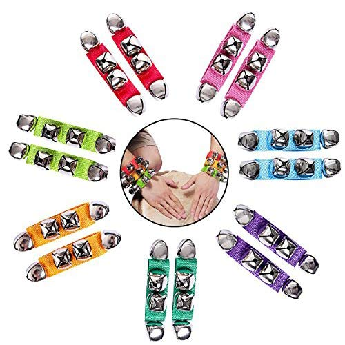DEALIKEE Band Wrist Bell, Multi-Color Musical Rhythm Toys Wrist Bells and Ankle Bells Wrist Foot Bell Instrument Percussion Orchestra Rattles Toy. (14 PACK)