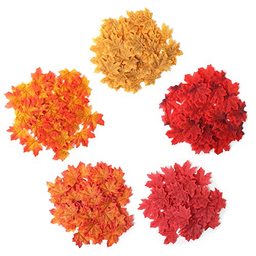DomeStar Aritificial Maple Leaves, 500PCS 3 Inch Silk Fall Leaves Faux Autumn Leaves Assorted Fall Leaves for Halloween Thanksgiving Decorations