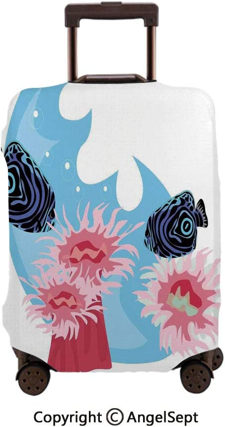 Washable Polyster Travel Luggage Protector,Underwater Animals with Colorful Stripes Sea Creatures Dark Blue Pink,30x40inches,Fashion Baggage Suitcase Cover