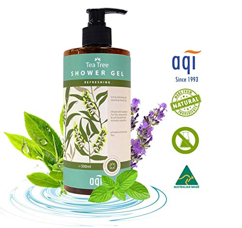 Tea Tree Oil Body Wash for Normal to Oily Skin 16.9 fl oz - pH Balanced, Antibacterial, Antiseptic & Antifungal Natural Body Wash for Men & Women-Sulphate, Soap & Paraben Free-Made in Australia By AQI ()