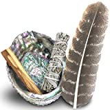 good energy decor - JL Local Smudge Kit - Sage, Palo Santo, Abalone Shell, Feather & More! Healing, Purifying, Meditating & Incense.
