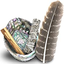 Smudge Kit - Sage, Palo Santo, Abalone Shell, Feather & More! Healing, Purifying, Meditating & Incense. 3 Sizes by JL Local (LARGE)
