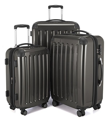 "HAUPTSTADTKOFFER Luggages Sets Glossy Suitcase Sets Hardside Spinner Trolley Expandable (20"", 24"" & 28"") TSA Graphite by Hauptstadtkoffer"