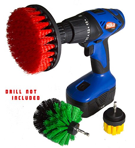 Magnum Power Scrubbing Drill Brush Attachment set, Turbo Scrub Kit of 3 Scrubbing Brushes All Purpose cleaning kit cleans Showers, Bathtub, Toilet, Tiles, Grout, Floors etc Make Your Chores Effortless