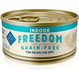 Blue Buffalo Freedom Grain Free Natural Adult Pate Wet Cat Food, Indoor Fish 5.5-oz cans