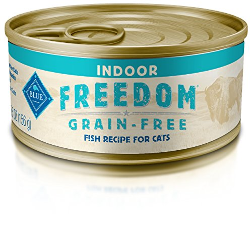 - Blue Buffalo Freedom Grain Free Natural Adult Pate Wet Cat Food, Indoor Fish 5.5-oz cans