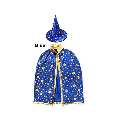 Simple Halloween Costume (Children Costumes Stars Style for Halloween and Christmas Sorcerer/Halloween Cloak with Hat Blue)
