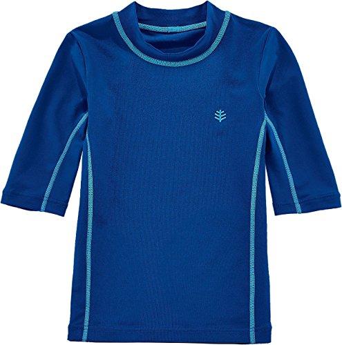 Coolibar UPF 50+ Kids' Short Sleeve Surf Shirt - Sun Protective (S 6-7 - Blue Wave)