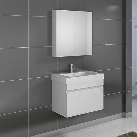 Set di mobili da bagno in Bianco Lucido per bagno piccolo (2 pezzi ...