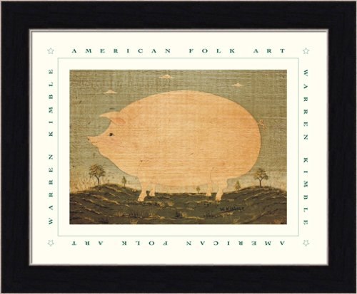 American Pig by Warren Kimble Primitive Folk Wall Art Print Framed Décor