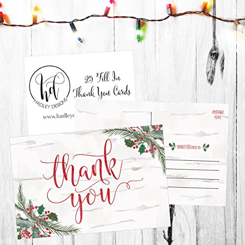 25 4x6 Woodland Christmas Holiday Thank You Postcards Bulk, Blank Cute Modern Fancy Winter Note Card Stationery For Wedding, Bridesmaids, Bridal or Baby Shower, Teachers, Religious, Business Cards Photo #4