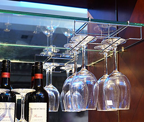 Mkono Under Cabinet Stemware Rack Chrome Wine glasses wire Hanging Holder Sheet 1.1″