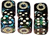 Custom & Unique {Standard Medium 16mm} 6 Ct Pack Set of 6 Sided [D6] Square Cube Shape Playing & Game Dice w/ Rounded Corner Edges w/ Christmas Wreath Outline Design [Green, Blue & Gold]