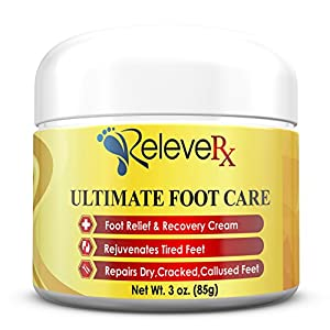 Releve RX- Ultimate Foot Care Cream. Foot Pain Relief Cream and Repair for Dry, Cracked & Callused Feet. 12 All Natural Ingredients- Arnica, Shea Butter, Tea Tree Oil, Aloe+ Podiatrist Recomm. USA 3oz