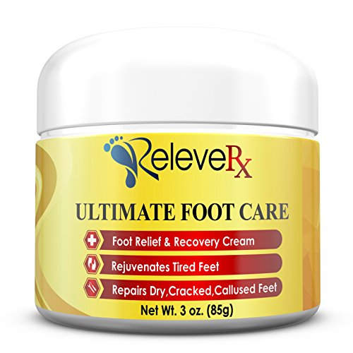 Releve RX- Ultimate Foot Care Cream. Foot Pain Relief Cream and Repair for Dry, Cracked & Callused Feet. 12 All Natural Ingredients- Arnica, Shea Butter, Tea Tree Oil, Aloe+ Podiatrist Recomm. USA 3oz Ultimate Care Cream