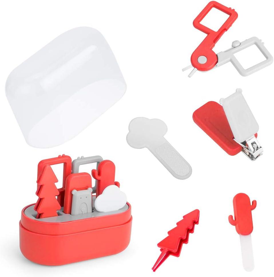 Rojo Pinzas y Limas de U/ñas,Set de Manicura para Beb/é ZIIDOO Kit de Cortau/ñas U/ñas para Beb/é,5 en 1 Kit de Aseo para Beb/é con Cortau/ñas Tijeras