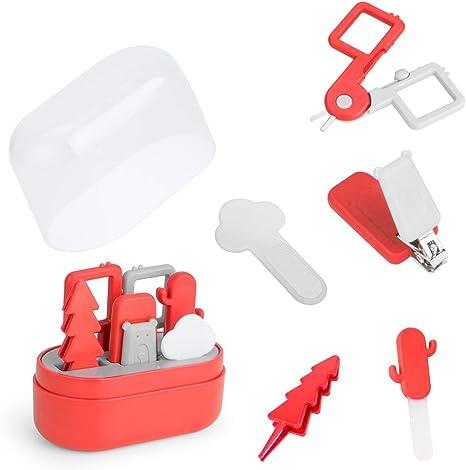 ZIIDOO Kit de Cortauñas Uñas para Bebé,5 en 1 Kit de Aseo para Bebé con Cortauñas, Tijeras, Pinzas y Limas de Uñas,Set de Manicura para Bebé (Rojo): Amazon.es: Bebé