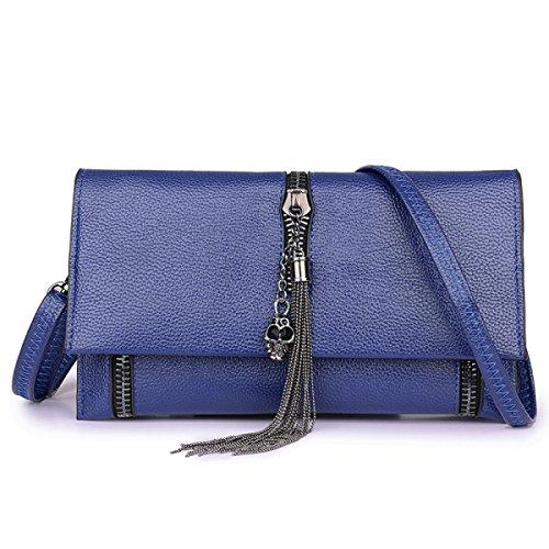 FZHLY Neue Damen Hochwertige Leder-Schulter-Kurier-Beutel-Troddel-Covered-Tasche,Blue