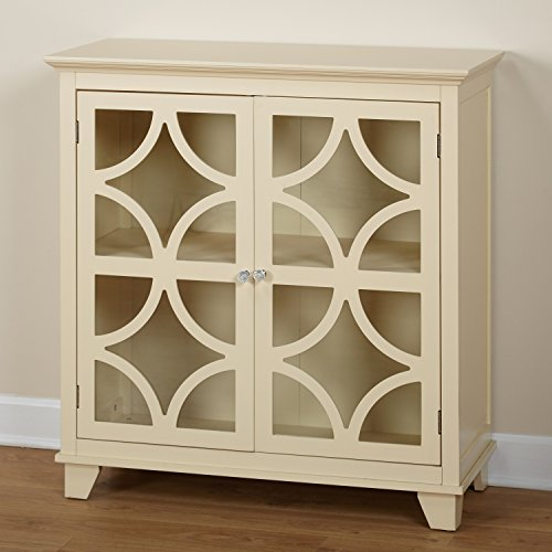 Beautiful 2-Door Storage Cabinet with Lovely Ornate Scroll Design Wood Over Acrylic, Adjustable Shelf Inside, Glass Panel Doors, Spacious Rectangle Top, Smooth Matte Ivory Finish + Expert Home Guide