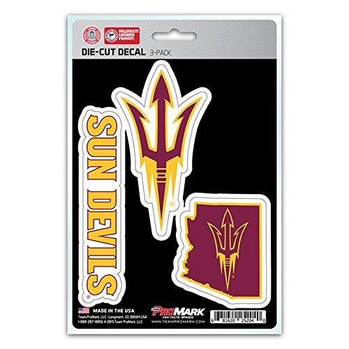 NCAA Arizona State Sun Devils Team Decal (Pack of 3), Varies, Red (Arizona State Sun Devils compare prices)
