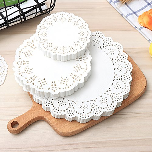 Kecuco White Lace Paper Doily Kitchen Paper Cake Packaging Paper Pad, Over 69 Pieces Paper 3 Sizes: 6.5 Inch, 8.5 Inch, 10.5 Inch, 23 pieces of each - Vases Lace