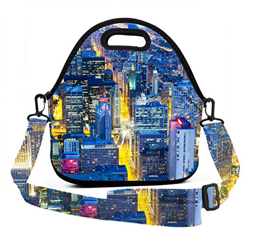 Insulated Lunch Bag, Neoprene Lunch Tote Reusable Picnic Bag Soft Thermal Cooler Tote - USA Chicago Skyline Night View - Multi-Purpose Lunch Container with Strap, Zip Closure -