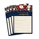 50 4x6 Navy Floral Wedding Advice & Well Wishes For The Bride and Groom Cards, Reception Wishing Guest Book Alternative, Bridal Shower Games Note Marriage Advice Bride To Be, Best Wishes For Mr & Mrs